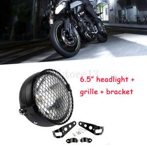 Universel-Moto-avant-retro-avant-metal-noir-phare-Grille-1-paire-Supports