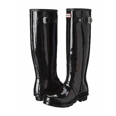 Hunter Original Tall Wellington Gloss Boots WFT1000RGL Welly Black SZ:5-11 *NIB*