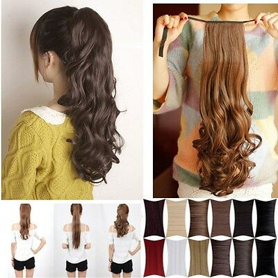 Real Quality Drawstring Ponytail Clip in long natural Pony Tail Hair Extensions