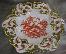 Roloff Handmalerei Porzellan Schale Rand durchbrochen Dekor Pfauen Blumen Gold