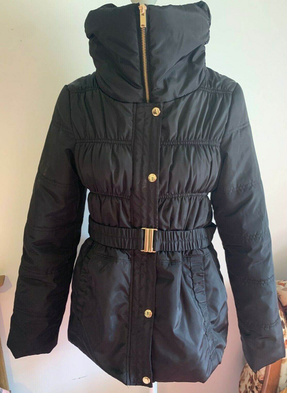 ASOS Black Padded Coat with Belt