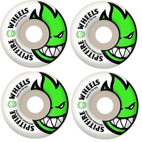 Spitfire-Bighead-Lime-Green-53mm-99a-Duro-Skateboard-Wheels-4-Pk-With-Decal-New