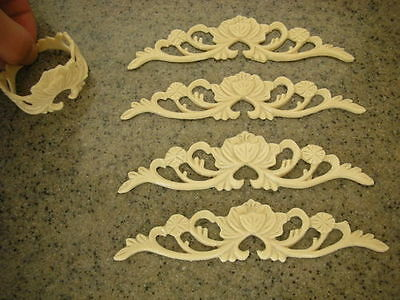 NEW! FLEXIBLE MOULDINGS . Shabby Chic Appliques.Set of 6 Vintage Decorations