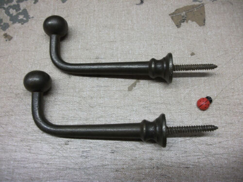 INDUSTRIAL or traditional look cast iron pair screw in ball tip hook