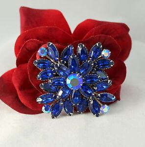 Vintage-Blue-Rhinestone-Prong-Set-Pin-Brooch-CAT-RESCUE