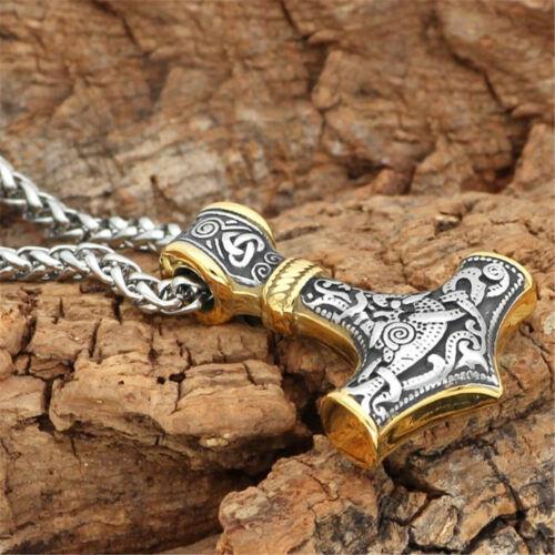 Anhänger Thors Hammer Edelstahl mit Kette Wikinger Halskette Vikings
