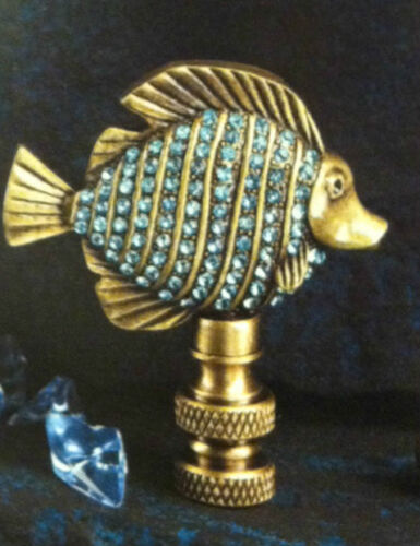 AUTHENTIC Blue Crystal Fish Finial Lamp Shade Top Elegant Decor lamp topper.
