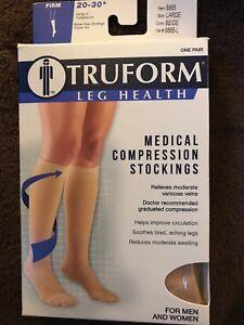 8f66bba01 Truform Leg Health Below Knee Closed Toe Stockings Firm 20-30  Beige ...