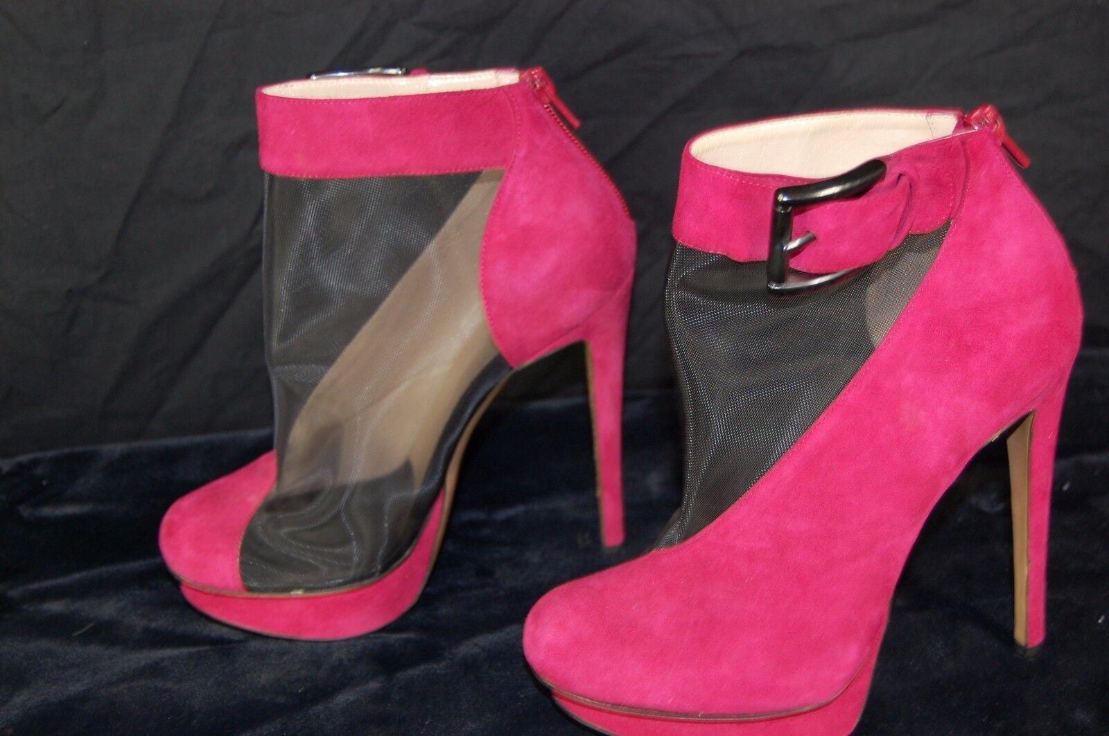 NICHOLAS KIRKWOOD DARK Rosa SUEDE & schwarz Stiefel MESH ANKLE Stiefel schwarz EU 37.5 US 7.5 eb4857