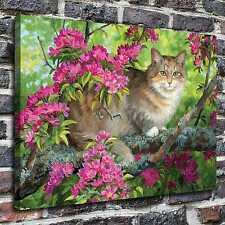 The cat on the flowers Painting HD Print on Canvas Home Decor Wall Art Picture