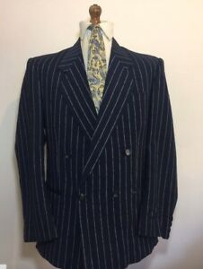 Pier Ge Double Breasted Boating Blazer - 40R - Navy Pinstripe - MOD ... 85e06fb4498