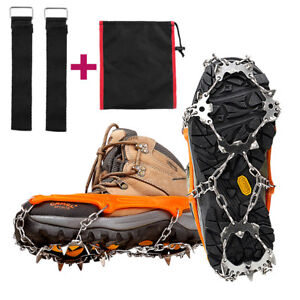 18-Teeth-Ice-Snow-Crampons-Anti-slip-Climbing-Gripper-Shoe-Covers-Spike-Cleats