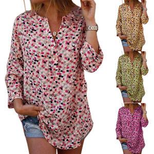 Women-Boho-Floral-V-Neck-T-Shirt-Blouse-Casual-Loose-Shirts-Long-Tops-Plus-Size
