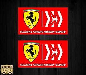 Sticker-Aufkleber-Autocollant-Adesivi-Decal-X2-Ferrari-Mission-Winnow-Laminato