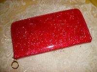 Pink Metallic Glittery Wallet Zip Around Credit Cards Coin Zip See Pics