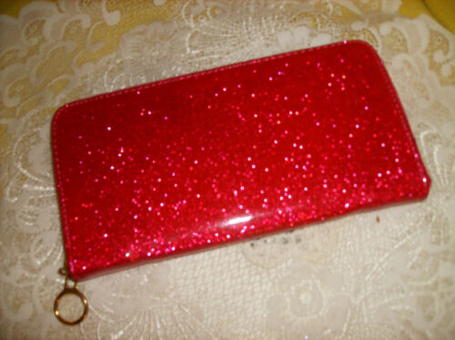 BLUE METALLIC GLITTERY WALLET ZIP AROUND CREDIT CARDS COIN ZIP New SEE PICS!!!