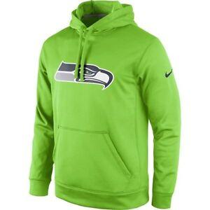 Seattle Seahawks NIKE Neon Lime Green KO Hoodie Sweatshirt Sideline ... d2e263797