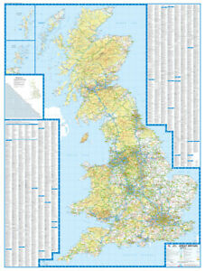 Details about Great Britain Road Map by A-Z Maps (Encapsulated Wall Map)