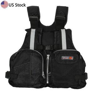 Black-Adult-adjustable-Buoyancy-Sail-Kayak-Canoeing-Fly-Fishing-Life-Jacket-Vest