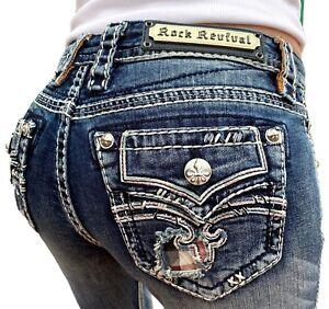 551ffbce5f1 Women Rock Revival Jeans Low Rise Plaid Faux Flap Skinny 25 26 27 28 ...