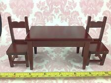 Dollhouse Miniature Kitchen Furniture Mahogany Wood Dining Table 2 Chairs 1 12