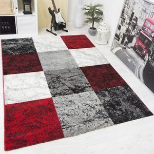 Das Bild Wird Geladen Designer Teppich Wohnzimmer Kariert Meliert Konturen  Schwarz Rot