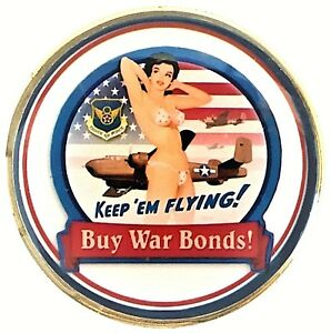 US-Air-Force-Pin-Up-Bomber-Nose-Art-Head-Tail-Good-Luck-Challenge-Coin-FAST-SHIP
