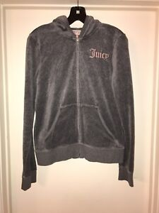Juicy Couture Women s Velour Gray Sweater Jacket Hoodie Size Large ... a5aa4b3004