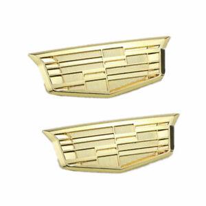 2x Gold Cadillac Car Body Side Fender Emblem for XT6 XT5 ATS XTS CTS SRX STS XLR
