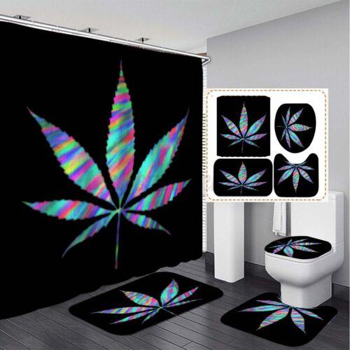 Non-Slip Carpet Set Toilet Cover Mat US Natural Leaf Bathroom Shower Curtain