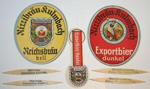 Uralte-Vorkrieg-Bieretiketten-BE-Kulmbacher-Rizzibraeu-Kulmbach-Werbezahnstocher