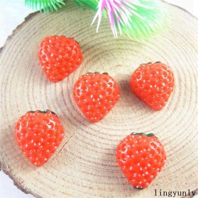 40pcs Resin Strawberry Cabochons Flatbacks Scrapbooking Crafts Accessories 51203