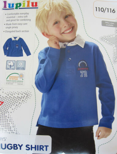 Boys New Rugby Shirt Royal Blue Long Sleeved Polo Shirt Ages 18 Months 6 Years