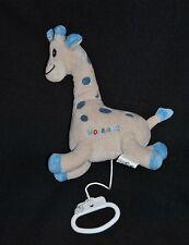 Peluche Doudou Girafe Musical NOVALAC 2 Beige Ecru Tâches Bleues 22 Cm TTBE