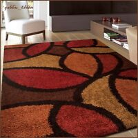 Soho Multi Area Rug Contemporary Thick Soft Carpet Orange Gold Red Brown Black
