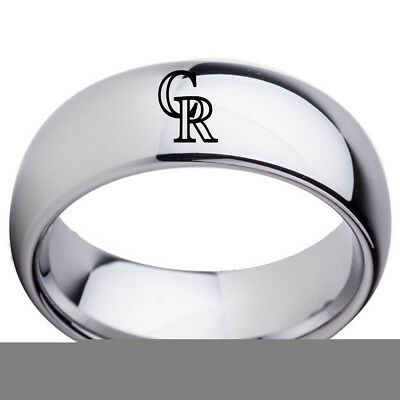 Colorado Rockies ring Titanium sport team logo 8mm US size 6-15