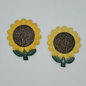 Vintage-Set-of-2-Ceramic-Sunflower-Wall-Art-Hanging-Made-in-Finland