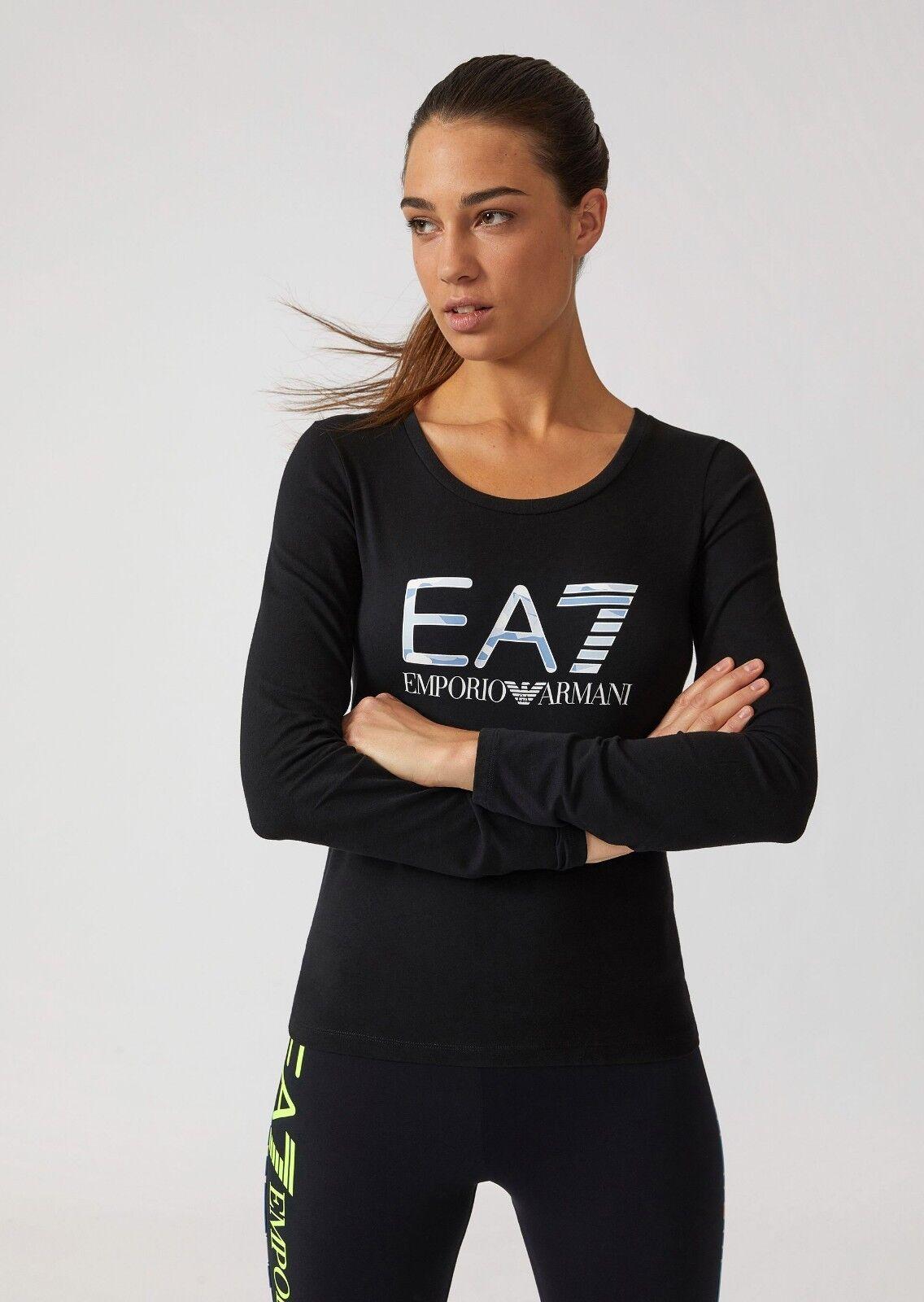 EMPORIO ARMANI,Damen Langarm-Shirt, Schwarz, Logo auf der Vorderseite,Baumwolle