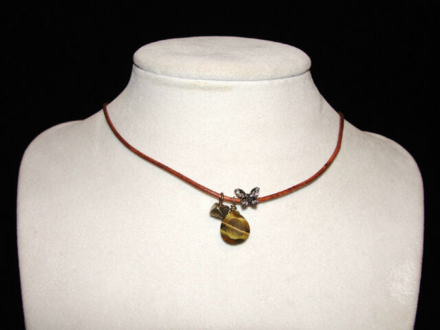 Fossil Brand Charm Cord Necklace - Butterfly &  Stone -  17