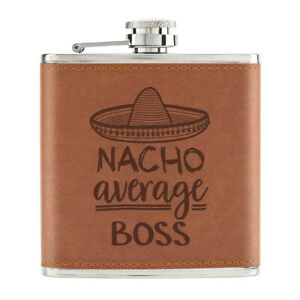 Nacho-Moyenne-Boss-170ml-Cuir-PU-Hip-Flasque-Fauve-Worlds-Best-Awesome-Manager