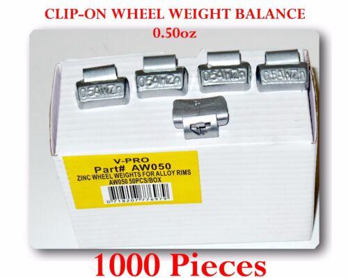 1000 Pcs ZN CLIP-ON Wheel Weight Balance 0.50oz 1//2 oz AWZ0.50 OZ Zing Led Free