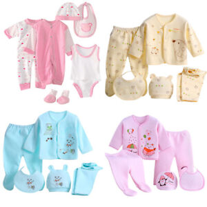 8PCS-Newborn-Kid-Baby-Boy-Girl-Tops-Hat-Pants-Bib-Sock-Shose-Romper-Outfits-Set