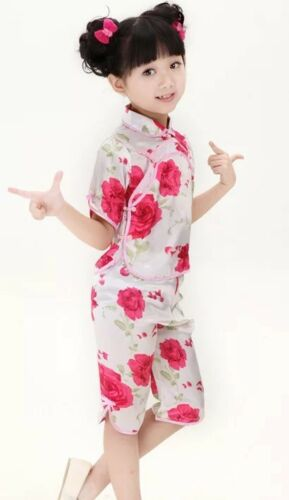 Chinese Japanese White Childrens Girls Floral Top /& Trousers Set Pyjama cgps6
