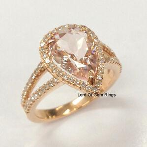 pink morganite engagement promise ring 14k