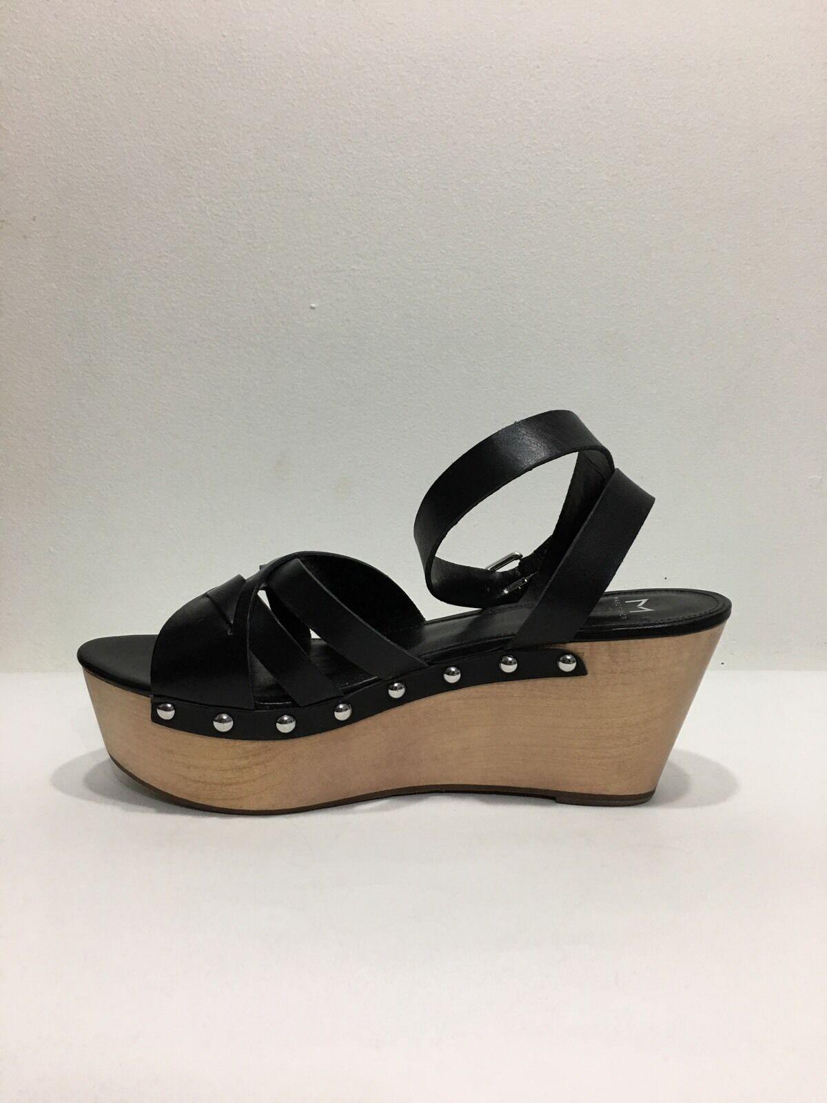 Nwt Marc Marc Marc Fisher  Black Leather Ankle Strap Platform Wooden Sandals Size 11 68879b