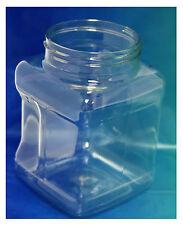 Clear Plastic Jars - No lids. (12 Pack) 16 Oz. Square-Grip Canister Food Safe