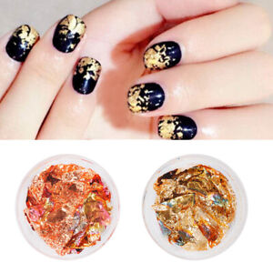 Nail Foil Stickers Irregular Gold Color Glitter Decals Nail Art Decorations Ebay