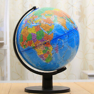 Actual Globe Map.25cm Rotating World Map Earth Globe Swivel Stand Geography