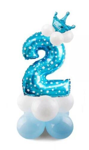 BTBW2-Luftballon Set Geburtstag Kind Ballon Geschenk Blau Deko Zahl Nummer 2