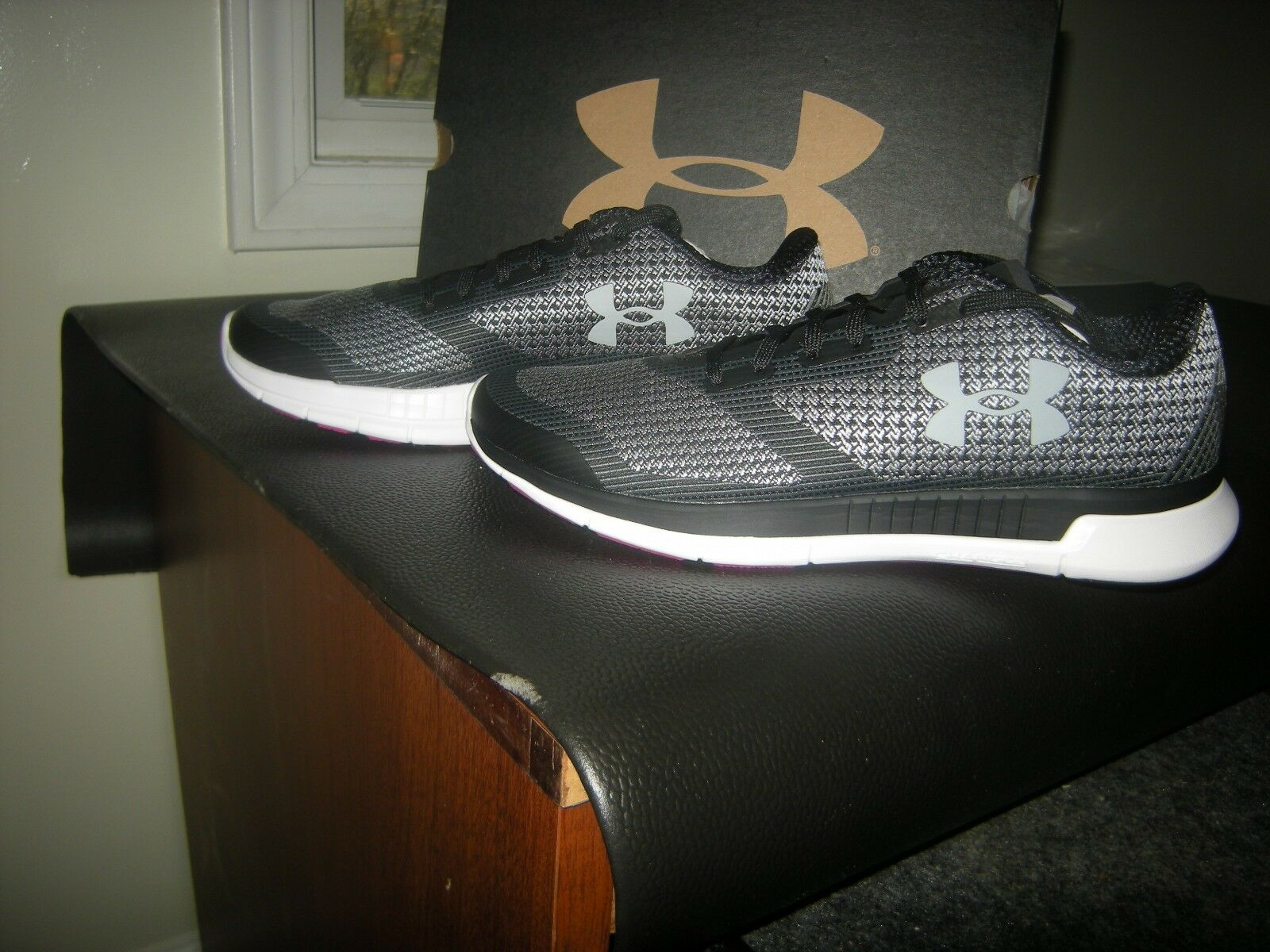 Brand New Womens Black & Gray Under Armour Charged Lightning Tennis Shoes, 8.5